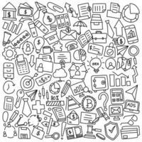 ícones de doodle de material de escritório e negócios vetor