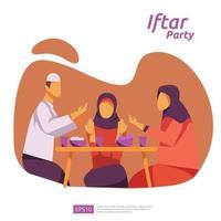 jantar em família muçulmano no ramadan kareem ou celebrando o eid com caráter de pessoas. iftar comendo após o conceito de festa de festa de jejum. modelo de página de destino da web, banner, apresentação, mídia social ou impressa vetor