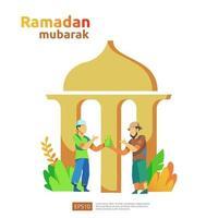 feliz ramadan mubarak e islâmico eid fitr ou adha conceito de saudação de design plano com caráter de pessoas para modelo de página de destino da web, banner, apresentação, mídia social e impressa