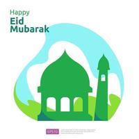 feliz eid mubarak ou ramadã saudação com caráter de pessoas. conceito de ilustração de design islâmico para modelo de página de destino da web, social, cartaz, anúncio, promoção, mídia impressa, banner ou apresentação