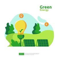 fontes de energia limpa e verde com painel solar elétrico renovável e turbinas eólicas. conceito ambiental para modelo de página de destino da web, banner, apresentação, mídia social e impressa vetor