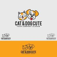 modelo de vetor de design de logotipo gato-cachorro-fofo