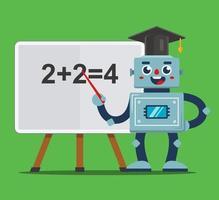 professor robô ensina crianças em sala de aula. escola do futuro. ilustração vetorial plana. vetor