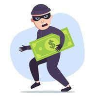 um ladrão que roubou dinheiro está segurando uma grande nota de um dólar nas mãos. ilustração em vetor plana de um personagem bandido.
