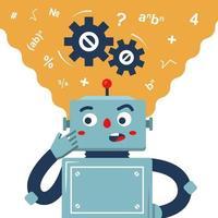 o robô pondera a solução para o problema. o processo de pensamento da máquina. personagem de vetor plana.