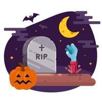 a ressurreição dos mortos da sepultura. ilustração para o dia das bruxas. imagem vetorial plana. vetor