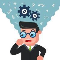 um homem de óculos está pensando em resolver um problema. mente matemática. ilustração em vetor personagem plana.