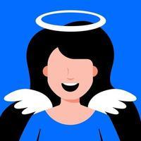 menina anjo com asas. cosplay de traje religioso. ilustração em vetor personagem plana.