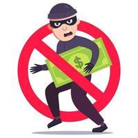 roubo de dinheiro malsucedido. sinal de ladrão riscado com nota de dólar. ilustração vetorial plana. vetor
