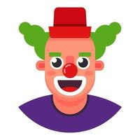 palhaço engraçado. a cabeça está sorrindo. ilustração em vetor personagem plana.