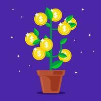 árvore do dinheiro com moedas em vez de frutas. ilustração vetorial plana vetor