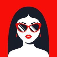 menina morena de óculos escuros e batom vermelho. ilustração em vetor personagem plana.