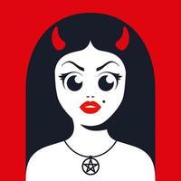 diabo feminino com chifres com decoração de estrela satânica no pescoço. ilustração em vetor personagem plana.