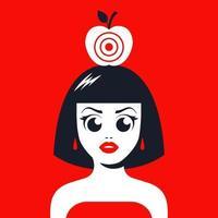 menina com uma maçã na cabeça com um alvo para atirar. arrisque sua vida. ilustração vetorial plana. vetor