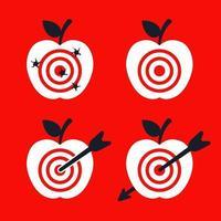 conjunto de maçãs com um alvo. atirar direto no alvo. ilustração vetorial plana. vetor