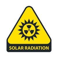 sinal de radiação solar. triângulo amarelo. ilustração vetorial plana. vetor
