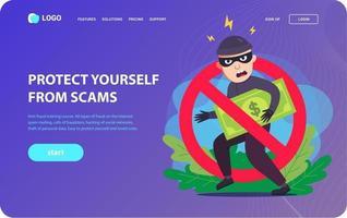 página de destino antifraude. um ladrão rouba seu dinheiro. ilustração em vetor personagem plana.