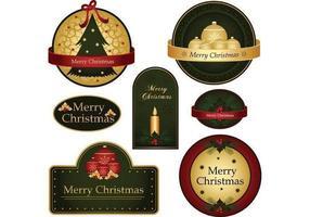 Vetores de etiqueta Feliz Natal