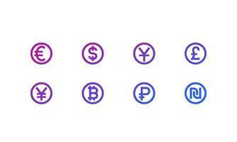 ícones de moedas, euro, iene, libra, dólar, rublo, yuan, shekel.eps vetor