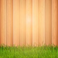 Grama em fundo de madeira vetor