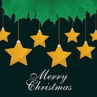 estrelas de feliz natal penduradas com folhas de desenho vetorial vetor