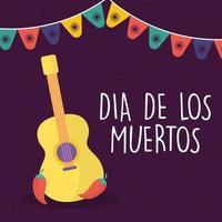 dia mexicano da guitarra morta com desenho vetorial de chillis vetor