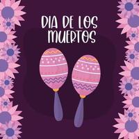 dia mexicano dos mortos maracas com desenho vetorial de flores vetor