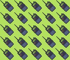 padrão walkie-talkie portátil sobre um fundo verde. ilustração vetorial plana. vetor
