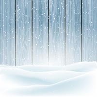 Neve de inverno em fundo de madeira vetor