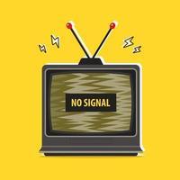 antigo bloqueio de tv. nenhum sinal. ilustração vetorial plana vetor