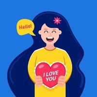 linda garota dá um dia dos namorados para um feriado. ilustração em vetor personagem plana.