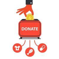 doar dinheiro para fundos de caridade para ajudar as pessoas. ilustração vetorial plana vetor