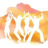 Pessoas dançando em um fundo aquarela vetor