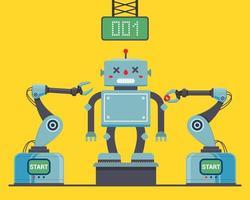 montagem do robô na fábrica com braços robóticos. ilustração em vetor personagem plana.