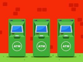 vários caixas eletrônicos verdes na rua. ilustração vetorial plana. vetor