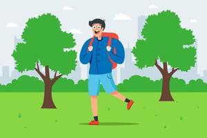 menino com uma mochila caminha em um parque verde. ilustração vetorial plana. vetor