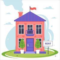 nova casa de dois andares para alugar. ilustração vetorial plana. vetor