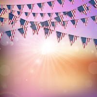 Bandeira americana, bunting, fundo vetor