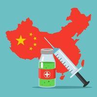 uma nova vacina contra o coronavírus foi desenvolvida. epidemia na China. ilustração vetorial plana. vetor