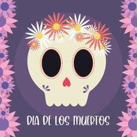 dia mexicano da cabeça do crânio morto com desenho vetorial de flores vetor