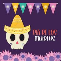 dia mexicano do crânio morto com desenho vetorial de chapéu e flores vetor