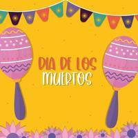 dia mexicano dos mortos maracas com desenho vetorial de flâmula vetor