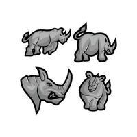 Conjunto de mascote de vetor de rinoceronte