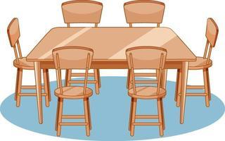 um conjunto de mesa de jantar e cadeiras em fundo branco vetor