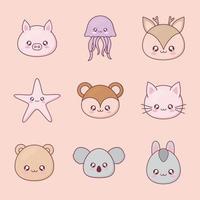 conjunto de ícones de desenhos animados de animais kawaii vetor