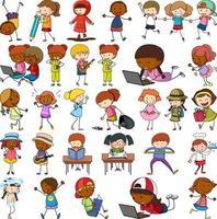 conjunto de diferentes personagens de desenhos animados doodle de crianças isolado vetor