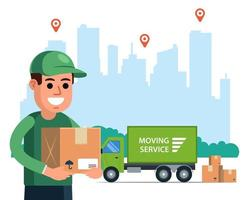 correio entrega um pacote em um caminhão tendo como pano de fundo a cidade. ilustração em vetor personagem plana.