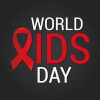 letras do dia mundial da aids com uma fita vermelha em um fundo preto