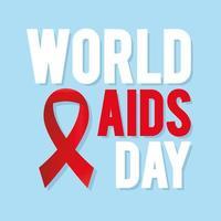 letras do dia mundial da aids com uma fita vermelha em um fundo azul