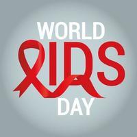 letras do dia mundial da aids com fita vermelha em fundo cinza
